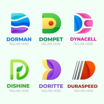 Platte ontwerp verschillende d-logo's instellen