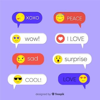 Platte ontwerp verschillende kleur berichten met emoji's