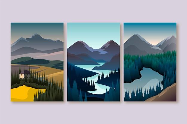 Platte ontwerp verschillende landschap illustratie collectie