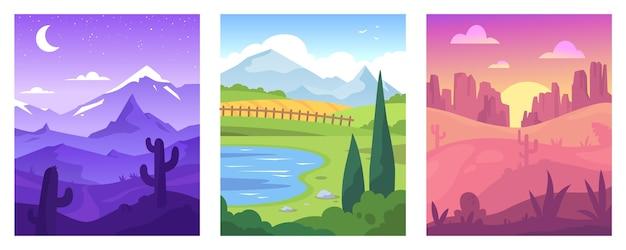 Platte ontwerp verschillende landschap illustratie set