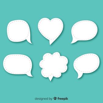 Platte ontwerp verschillende tekstballonnen in papierstijl