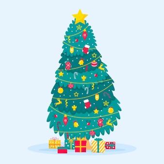 Platte ontwerp versierde kerstboom geïllustreerd
