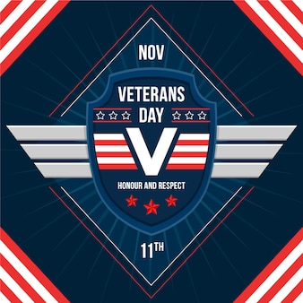 Platte ontwerp veteranen dag achtergrond