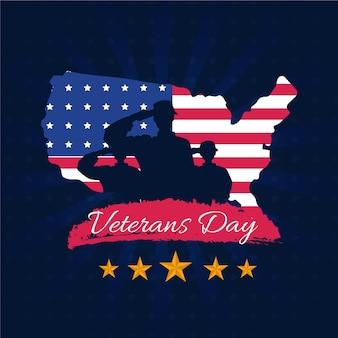 Platte ontwerp veteranen dag thema