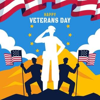 Platte ontwerp veteranendag met amerikaanse vlaggen