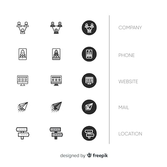 Platte ontwerp visitekaartje icoon collectie