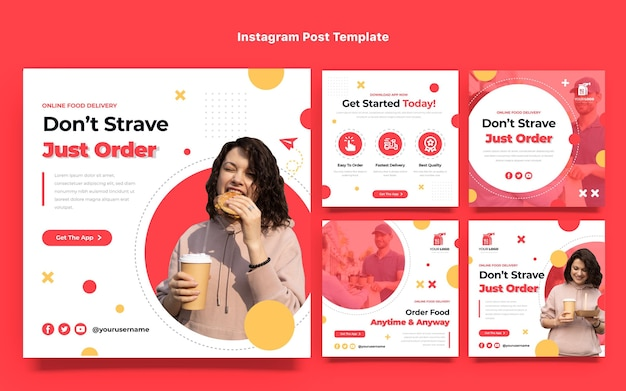 Platte ontwerp voedselbestelling instagram-berichten