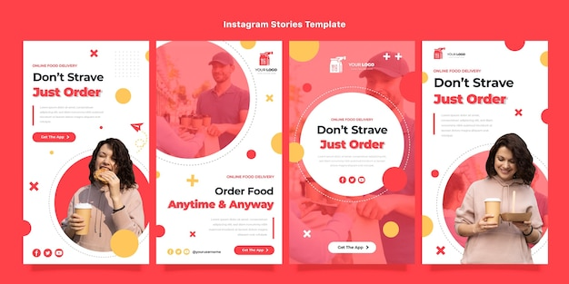 Platte ontwerp voedselbezorging instagram-verhalen