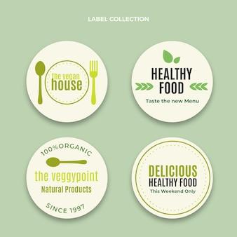 Platte ontwerp voedseletikettencollectie