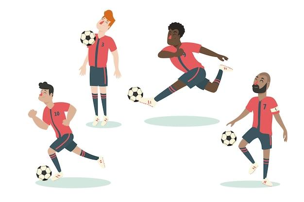 Platte ontwerp voetballers collectie