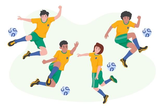 Platte ontwerp voetballers set