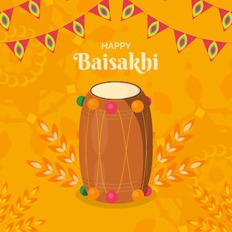 Platte ontwerp voor gelukkig baisakhi-evenement