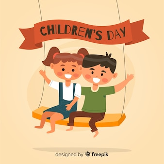 Platte ontwerp voor kinderen dag illustratie