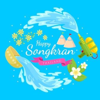 Platte ontwerp voor songkran festival
