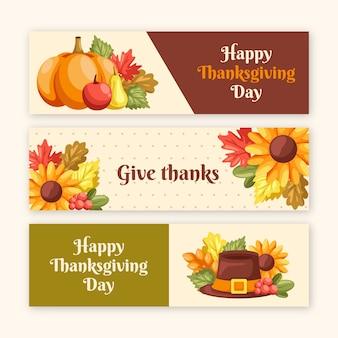 Platte ontwerp voor thanksgiving banners