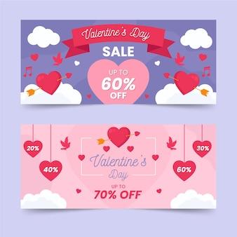 Platte ontwerp voor valentijnsdag banner concept