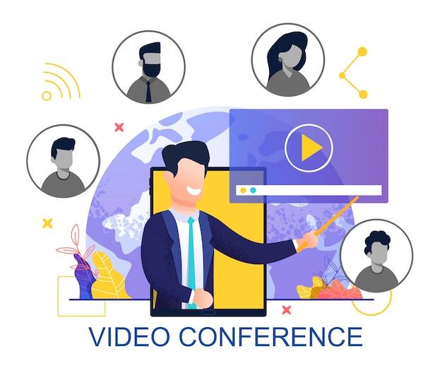 Platte ontwerp voor videoconferentie