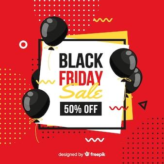 Platte ontwerp voor vierkante zwarte vrijdag voor rode memphis achtergrond