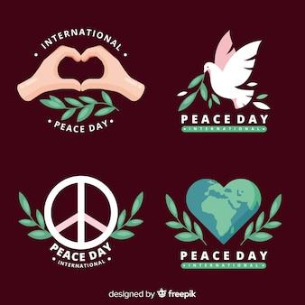 Platte ontwerp vredesdag badge-collectie