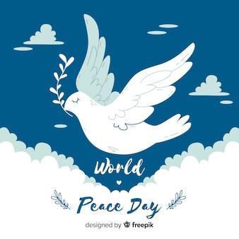 Platte ontwerp vredesdag met een duif