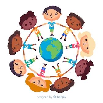 Platte ontwerp vredesdag met kinderen
