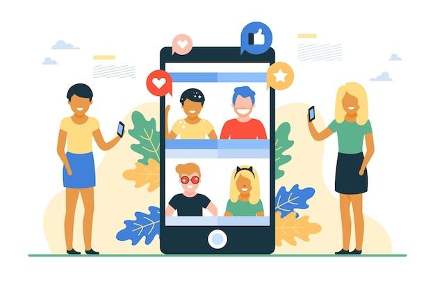 Platte ontwerp vrienden video-oproep sjabloon illustratie