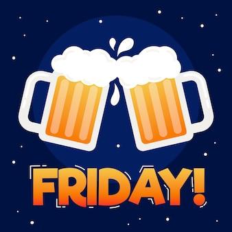Platte ontwerp vrijdag achtergrond met bier