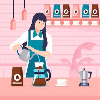 Platte ontwerp vrouw koffie maken