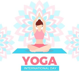 Platte ontwerp vrouw thuis yoga doen