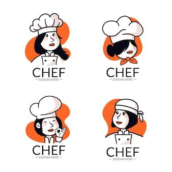 Platte ontwerp vrouwelijke chef-kok logo-collectie Premium Vector