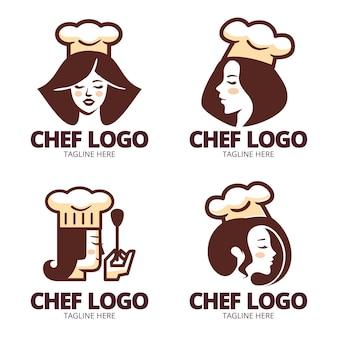 Platte ontwerp vrouwelijke chef-kok logo-collectie