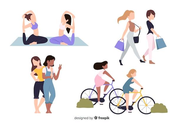 Platte ontwerp vrouwelijke personages hobby's