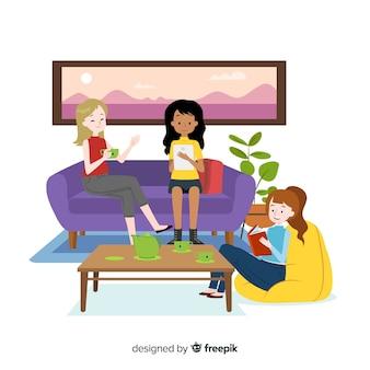 Platte ontwerp vrouwelijke personages tijd samen doorbrengen binnen