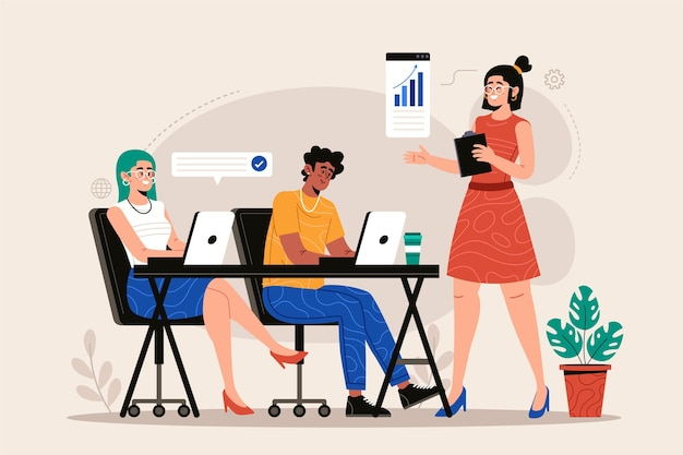 Platte ontwerp vrouwelijke teamleider