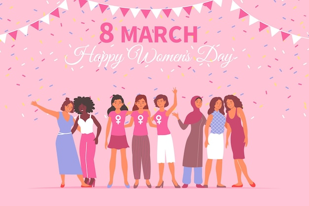 Platte ontwerp vrouwendag 8 maart kaart met gelukkige vrouwelijke karakters