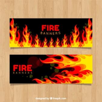 Platte ontwerp vuur banner