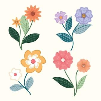 Platte ontwerp warme en koude kleuren bloemen