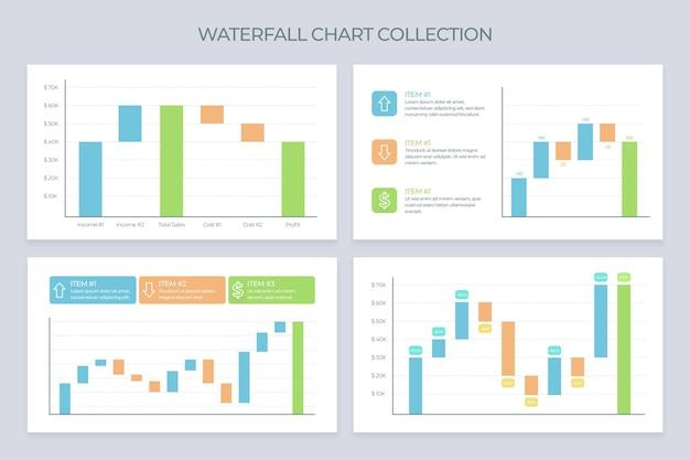 Platte ontwerp waterval grafiekcollectie