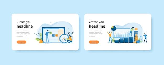 Platte ontwerp weblandingsstartpagina-sjablonen van bedrijfsplanning en bedrijfsfinanciën, investeringen en besparingen