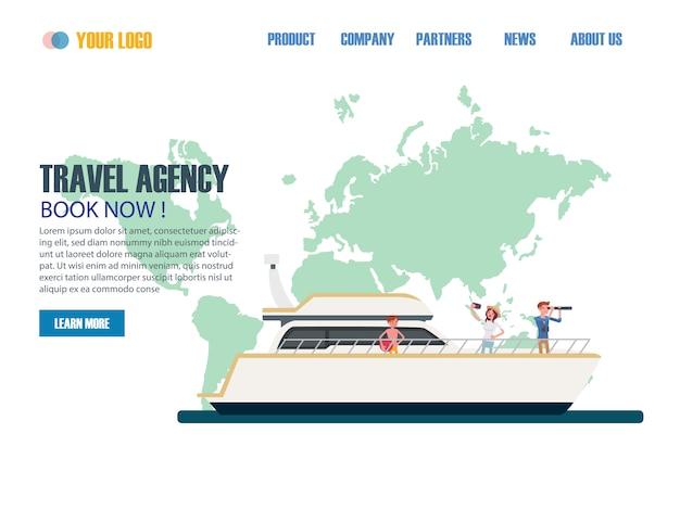 Platte ontwerp webpaginasjablonen voor reisbureaus