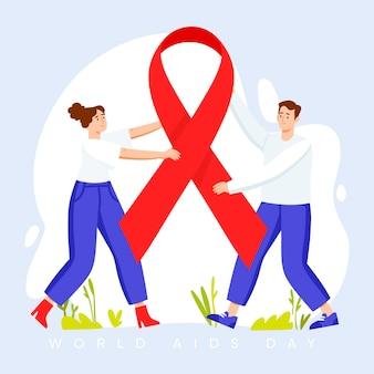 Platte ontwerp wereld aids dag concept
