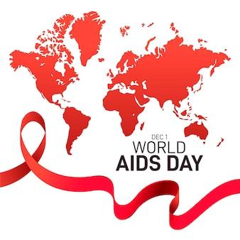 Platte ontwerp wereld aids dag met kaart en lint