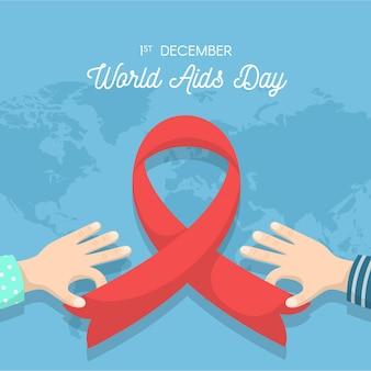 Platte ontwerp wereld aids dag symbool met kaart