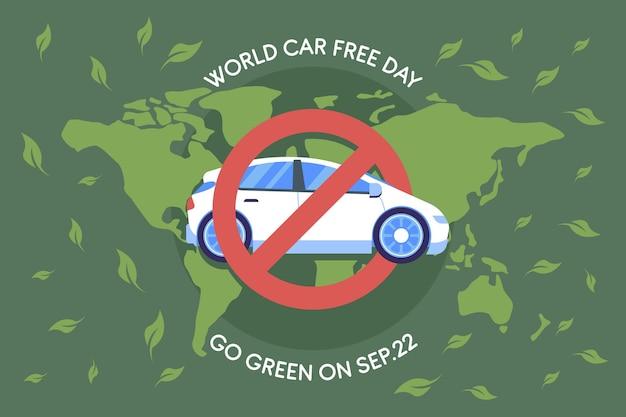 Platte ontwerp wereld auto vrije dag achtergrond