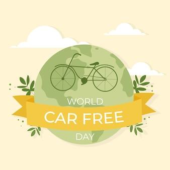 Platte ontwerp wereld auto vrije dag illustratie
