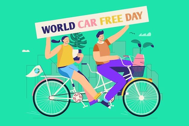 Platte ontwerp wereld autovrije dag achtergrond met vrouw en man