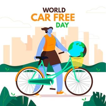Platte ontwerp wereld autovrije dag achtergrond met vrouw