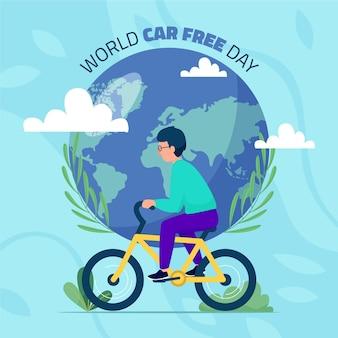 Platte ontwerp wereld autovrije dag