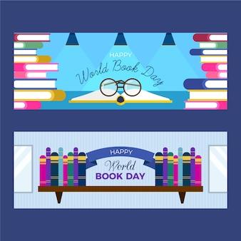 Platte ontwerp wereld boek dag banners