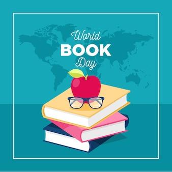 Platte ontwerp wereld boek dag concept